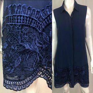 Chico's Embroidered Chiffon Lace Tunic Shirt Dress
